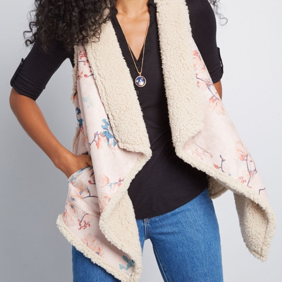 BB Dakota Jackets & Blazers - BB Dakota | reversibe floral shearling draped vest